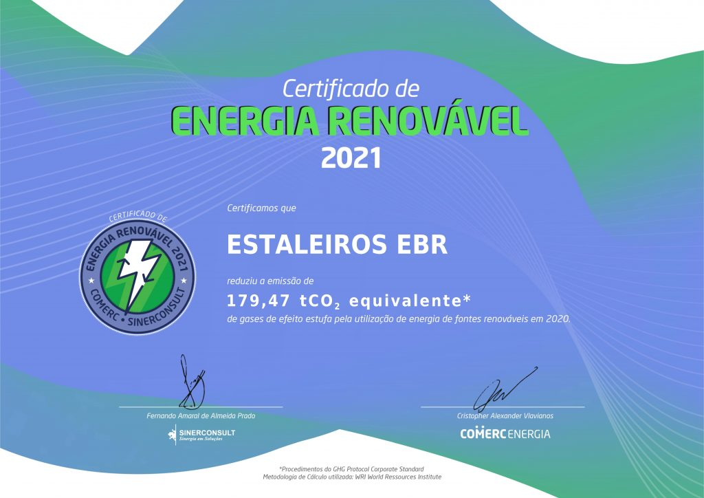 EBR recebe certificado pela redução de gases de efeito estufa